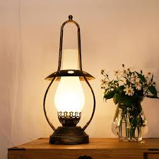 2018 nordic frosted glass shade retro kerosene lamp bronze color metal base bedroom bedside vintage desk lamp study room reading lamp from