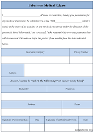 Babysitters Medical Release Form : Sample Forms