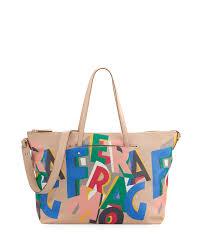 Salvatore Ferragamo Mika Large Origami Print Tote Bag Multicolor