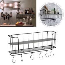 2 tiers wall mount coat hooks unit rack bedroom key holder organizer metal uk bu