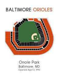 Baltimore Orioles Camden Yards Seating Chart Baltimore Orioles 11x14