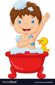 cartoon child taking a bath vector image