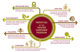 graphic chart listing the seven priorities of the master gardener program that are described in the