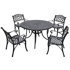 cast aluminum outdoor dining set with arm chairs hover to zoom