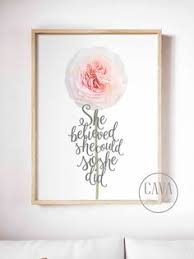 she believed she could 4 quote for girls bedroom dorm wall art printable on pink and gold floral wall art with gold foil heart print floral wall art print nursery wall art gold