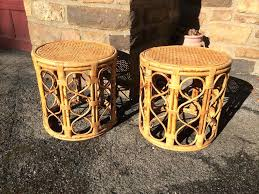 round wicker table inspired pair of woven cane end tables attainable vintage heart lamp round wicker table