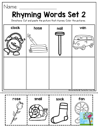 Rhyming Words- Cut and paste the picture that rhymes and color the ...
