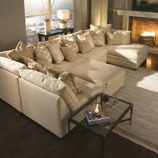 Light Brown U Shaped Sectional Sofa Bed With Ottoman And Glass