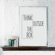 outside the box office. Motivational Print Creative Decor - Think Outside The Box Home Office Minimal Wall Art Canvas