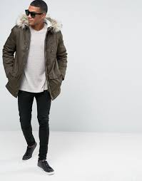 river island parka with faux fur collar in khaki men coats river island jackets asos