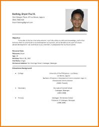 Filipino Resume Objective Sample Listmachinepro Com