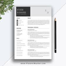 Richards Resume Modern Professional Resume Template 3 Page Cv Template Creative