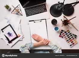 Designer Cropped View Designer Office Desk Laptop Art Supplies Flat