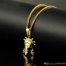 mens charms figure pendant necklace personalized design 18k gold plated 60cm long chain rock micro hip hop fashion custom jewelry for men mens necklace