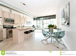 Modern Kitchen Living Room Modern Condo Kitchen Dining And Living Room Stock Photography