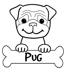 Small Picture Printable Pug Coloring Page coloring pugs Pinterest Clip art