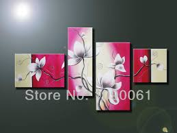 handmade green white orchid flowers oil painting on canvas 4 piece handpainted home decoration orchids paintings