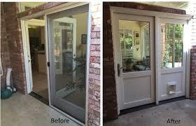 custom patio door with doggy door