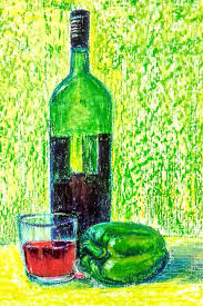 still life with wine bottle oil pastel drawing gift item drawing by asha shenoy