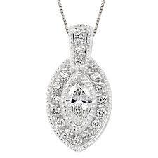 diamond halo pendant for marquis