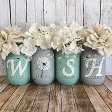 Dandelion WISH Mason jar set   rustic home decor   farmhouse decor   mint  and grey