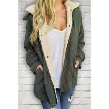whole casual convertible faux fur hooded long sleeve drawstring thick fleece coat for women army green