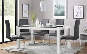 venice white high gloss and gl dining table with 4 perth grey chairs