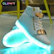 flashing led shoes white and gold