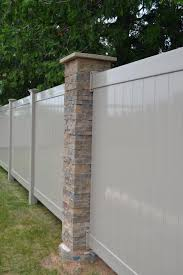 Vinyl fence Scalloped Vinyl Mounted To Stone Column Buzz Custom Fence Vinyl Fence Countryside Fence Of Wausau Wi