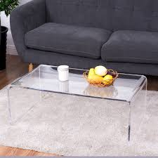 costway clear acrylic coffee table cocktail waterfall table 37 x 21 x 14 inch home decor
