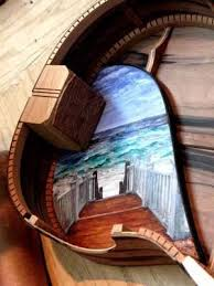 Art inside of an acoustic guitar. Cool idea by luthier Kent ...