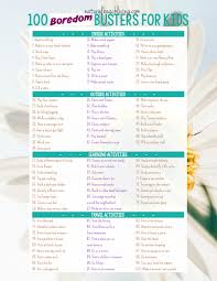 100 boredom busters summer activities free printable natural beach living