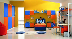 bedroom designs for teenagers boys. Orange Blue Bed Room Cabinets Shelves Book Case Mattresswooden White Carpet Fur Rug Yellow Wall Paper Lighting Modern Minimalist Design Art Kids Bedroom Designs For Teenagers Boys