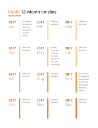 timrline 12 month timeline office templates