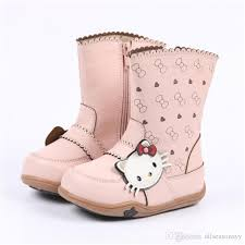 Hello Kitty Size Chart New Winter Children Boots Princess Pu Leather Hello Kitty Baby Girls Cotton Padded Shoes Snow Boots High Boots Kids Fall Boots Discount Toddler Boots