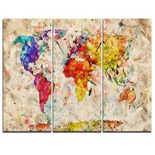 vintage world map watercolor 3 piece graphic art on wrapped canvas set
