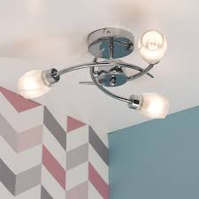 mia chrome three way semi flush ceiling