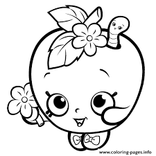 Shopkins Apple Smile Cute Girls Coloring Pages Printable