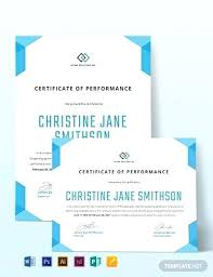 Performance Certificate Sample Best Performance Certificate Template Neerja Co