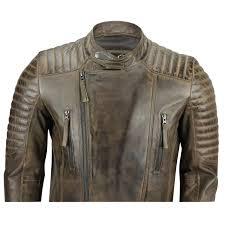 new mens slim fit real leather biker jacket