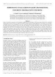 Light Transmitting Concrete Perfomance Evaluation On Light Transmitting Concrete Translucent Con