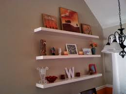 painting shelves ideasDecor Functional Floating BookShelves With Beige Wall Painting