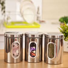 1pc High Quality Stainless Steel Canister Jar Bottle Box Set with Glass  Window Kitchen Storage Jar Candy Container Free Shipping-in Storage Boxes &  Bins ...