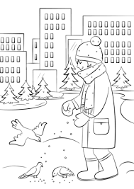 Small Picture Feeding Birds in Winter coloring page Free Printable Coloring Pages