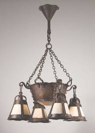 magnificent antique arts crafts chandelier with slag glass with regard to arts and crafts