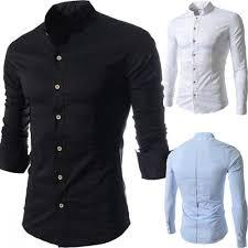 Long Sleeve Designer Shirts Casual Business Fashion Slim Stand Collar Long Sleeve Designer Shirts For Men