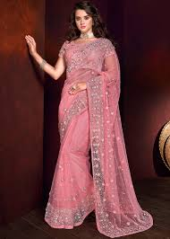 Pearl Designer Blouses Online Light Pink Pearl Embellished Saree With Blouse