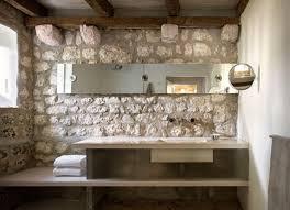 rustic modern bathroom. Modern Rustic Stone Wall In Bathroom_concrete Vanity Countertop Bathroom