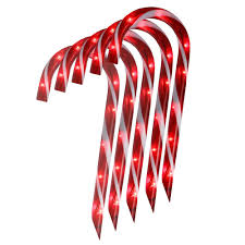Green Candy Cane Pathway Lights Northlight Set Of 10 Lighted Outdoor Candy Cane Christmas