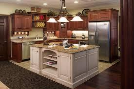Antique White Kitchen Island Dark Cherry Wooden Custom Kitchen Cabinet With Antique White